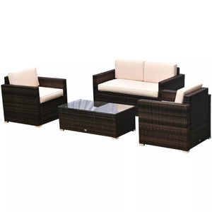 4-Piece Cushioned Outdoor Rattan Wicker Sofa Sectional Patio Furniture Set for Sale in Los Angeles, CA