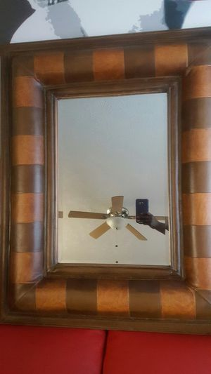 Two tone brown authentic leather mirror large for Sale in Manassas, VA