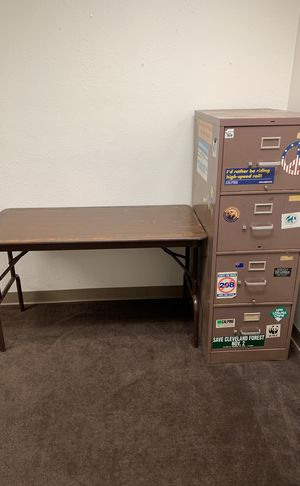 Filing cabinet, fold out tables, light, chair for Sale in San Diego, CA