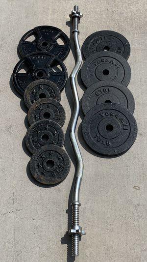 EZ Curl Bicep Tricep Bar with Weights for Sale in Las Vegas, NV