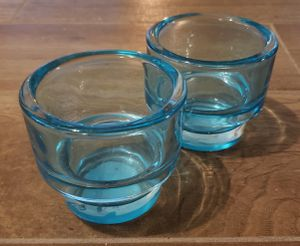 Pair of Teal Glass Candle Holders for Sale in Kyle, TX