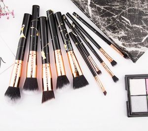 10 pcs LA Makeup brush set marble printed style professional brushes with cosmetic travel bag for Sale in Los Angeles, CA