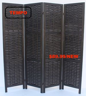 Rustic Woven 4-Panel Room Divider, Black for Sale in Westminster, CA