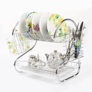 S-shaped Kitchen Dish Cup Drying Rack Holder 2-Tier Dish Dryer Bowl Rack Sink Drainer Kitchen Storage Organizer for Sale in Salem, OR