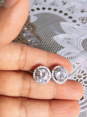 Elegant Round Cut AAA White CZ Diamond Stud Earrings Princess 925 Silver for Sale in Moreno Valley, CA
