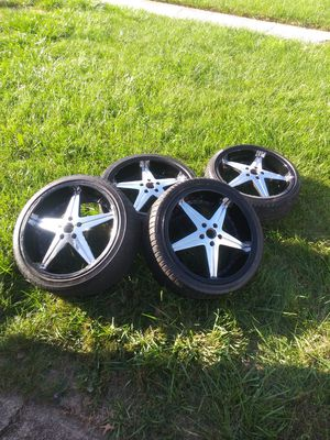 20 inch rims all 4 Black n Chrome 5x4.5 for Sale in Baltimore, MD