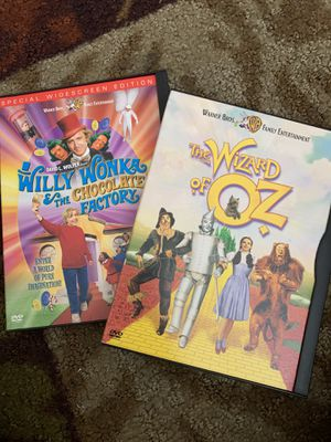 2 DVD Movies The Wizard of Oz and Willy Wonka and the chocolate factory for Sale in Aurora, IL