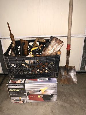 TOOLS! Tile saw, multiple concrete finishing tools, trowels, sidewalk/curb tools, groovers, hand crank drill, saw, mallet, shovel, two grease guns for Sale in Romoland, CA