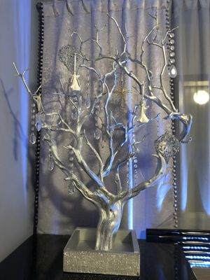 Silver decorative tree ( for all occasions) with glass decorations included for Sale in Glendale, CA