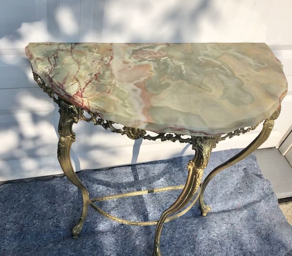 Antique Brass & Marble Entryway Table