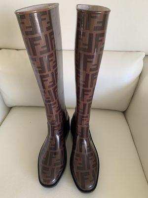 Fendi Rubber Zucca Knee-Hi Boots In Brown/Black Size 8 for Sale in Miami, FL