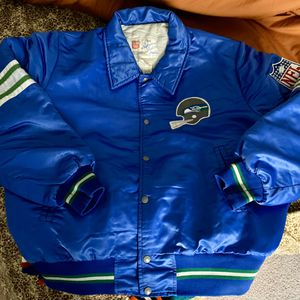 Vintage Seattle Seahawks Shain Of Canada Satin jacket Fits XL Rare Starter Chalkline for Sale in Stockton, CA
