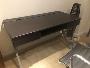 Dark brown desk w/4-plug outlet & Office Chair for Sale in Washington, DC