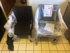 Furniture-outdoor lawn chairs metal frame with wicker cover. BRAND NEW still in bubble pack. These chairs retail for $79 each. Set of3 for Sale in Peoria, AZ
