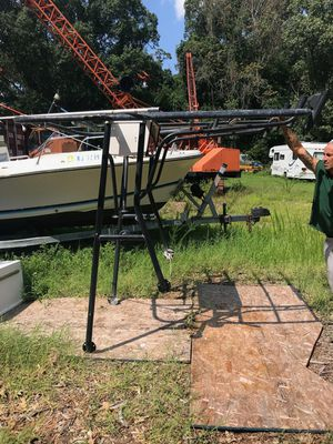 Sorry the boat is gone but the console still available picture 21 to 23 foot center console. It needs new canvas for Sale in Berkeley Township, NJ