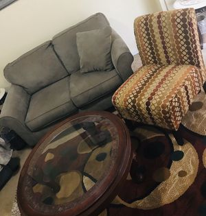 """Living room set sofa with chair 5x7"""" rug and coffee table smoke pet free available for pick up in Gaithersburg md20877 for Sale in Gaithersburg, MD"""
