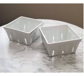 Ceramic Berry Colander Basket Set of 2 - White for Sale in Cape Coral,  FL