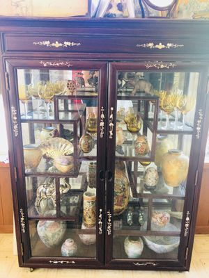 Antique glass china hutch for Sale in Fresno, CA