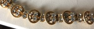 15 1/2 inch long vintage necklace - rhinestones gold tone no markings for Sale in Bothell, WA