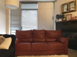 Dania Red Leather Couch Futon Bed Excellent Condition for Sale in Seattle, WA