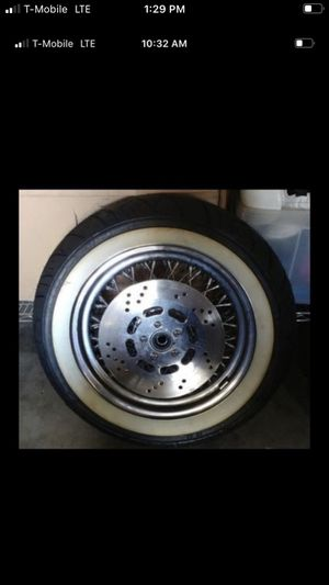 """harley davidson wheel and tire 3"""" wide 80 spoke 16"""" rim with brand new white wall tire on it for Sale in Bellflower, CA"""