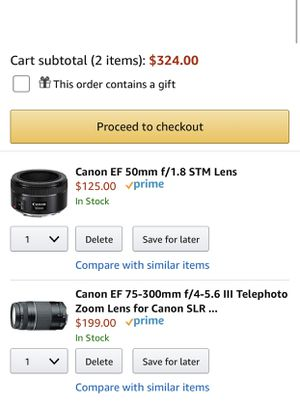 Can Lens 50mm and 75-300mm for Sale in Washington, DC