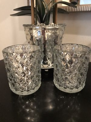 Pretty set of 2 silver candle holders. Beautiful anywhere in your home. Lovely for your holiday table or decor. CANDLES NOT INCLUDED. 4 in each for Sale in Pembroke Pines, FL