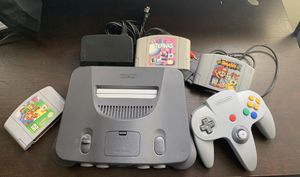 Nintendo 64, Super Mario 64, Smash Bros & Mario Tennis + Gamepad & Cables for Sale in El Cajon, CA