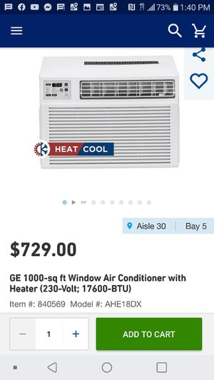 New heat and cool window unit 17,600 btu ac and 11,000 btu heat for Sale in Concord, NC