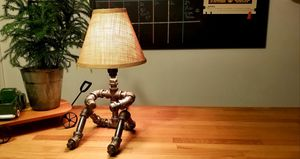 """Industrial steel """"person sitting"""" desk table lamp for Sale in Grove City, OH"""