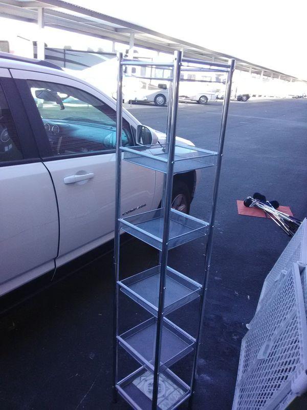 Silver 6 shelf storage tower