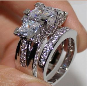 Brand new womens Stamped 18KT Solid White Gold princess cut genuine White Sapphire 2 PC Engagement ring & Wedding ring set Many Sizes for Sale in New Port Richey, FL