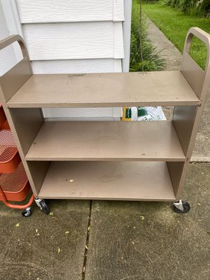 3 shelves metal book / utility cart for Sale in North Olmsted, OH