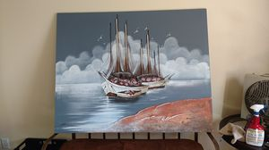 Fishing boats, 3-D raised panel oil painting for Sale in Redlands, CA