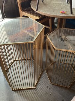 Set Of 2 Gold With Glass Too Accent Tables for Sale in Los Angeles,  CA