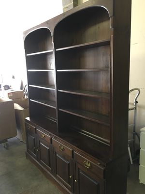 Beautiful brown wooden cabinet with hutch for Sale in Fairfax, VA