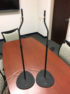 Sanus black adjustable speaker stands one pair for Sale in Pompano Beach, FL