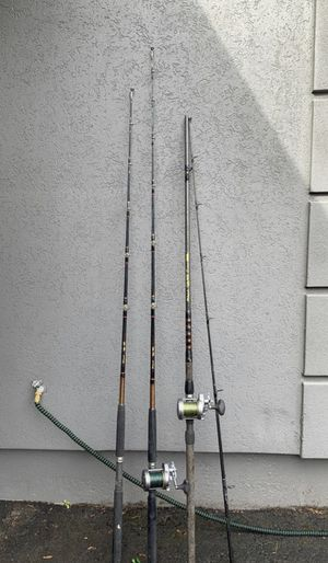 3 Shakespeare Ugly Stick Fishing Rods with Torium Reel 3 fishing rods with 2 Torium reels with fishing line for Sale in Portland, OR