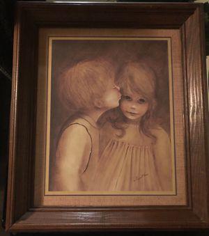 Boy kissing Girl print in frame for Sale in Detroit, MI