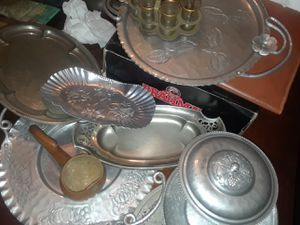 Antique 1920's silver plated serving trays & gold plate trim shot glasses for Sale in Detroit, MI