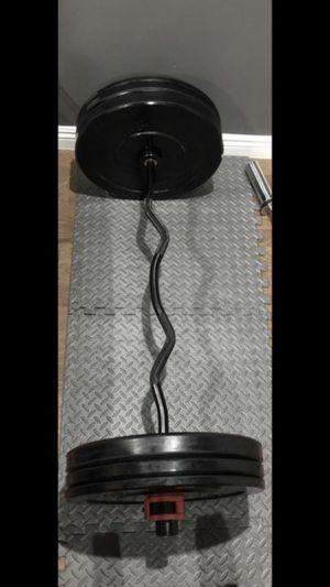 Olympic curling barbell with pairs of 25s, 15s, and 10s of Bumpers/ Olympic Rubber Weights/ Plates for Sale in Alhambra, CA
