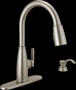 Delta Single Handle Pull-Down Kitchen Faucet With Soap Dispenser And ShieldSpray Technology for Sale in Dallas,  TX