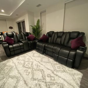Movie theater All Black Leather Sofa Recliners for Sale in Malden, MA
