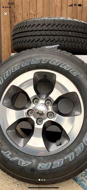 SALE! 3 Sets Like New Jeep RIMS + Bridgestone A/T TIRES WHEELS Factory ## Rines y llantas 2016 Jeep 2017 JK 2015 2016 wrangler 2014 Jku 2013 rines 20 for Sale in Dallas, TX