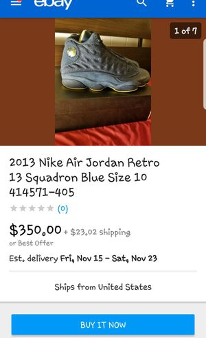 Mens size 12 Air Jordan's 13 Retro squadron blue electric yellow for Sale in Concord, NC