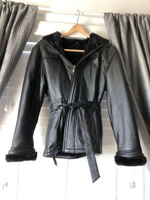 Black Leather Real Fur Coat (S) for Sale in Ashburn, VA