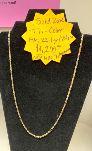 Solid gold rope chain 14kt for Sale in Phoenix, AZ