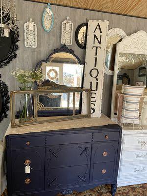 Antique Navy Blue Ornate Dresser w/ Mirror for Sale in Milwaukie, OR
