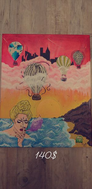 Hot air balloon hand painted canvas art for Sale in Denver, CO