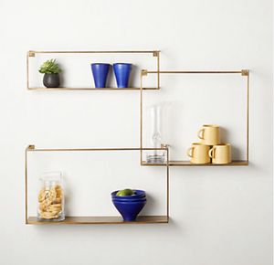 CB2 - ANTIQUED BRASS FLOATING SHELVES SET OF 3 for Sale in Seattle, WA